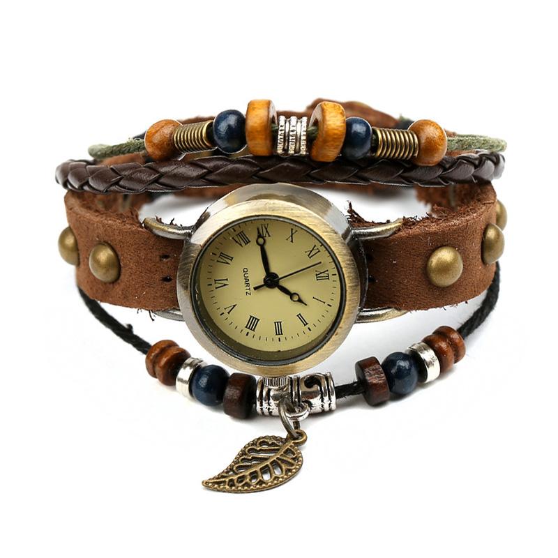 Retro Leaf Wooden Beads Leather Multilayer Bracelet WATCH