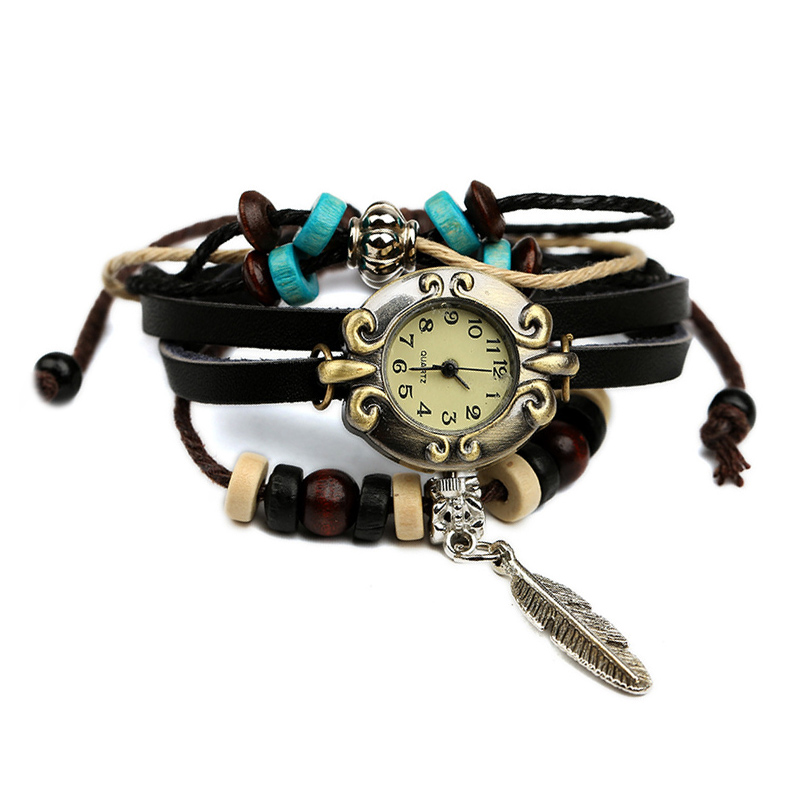 Retro Feather Wooden Beads Leather Multilayer Bracelet WATCH