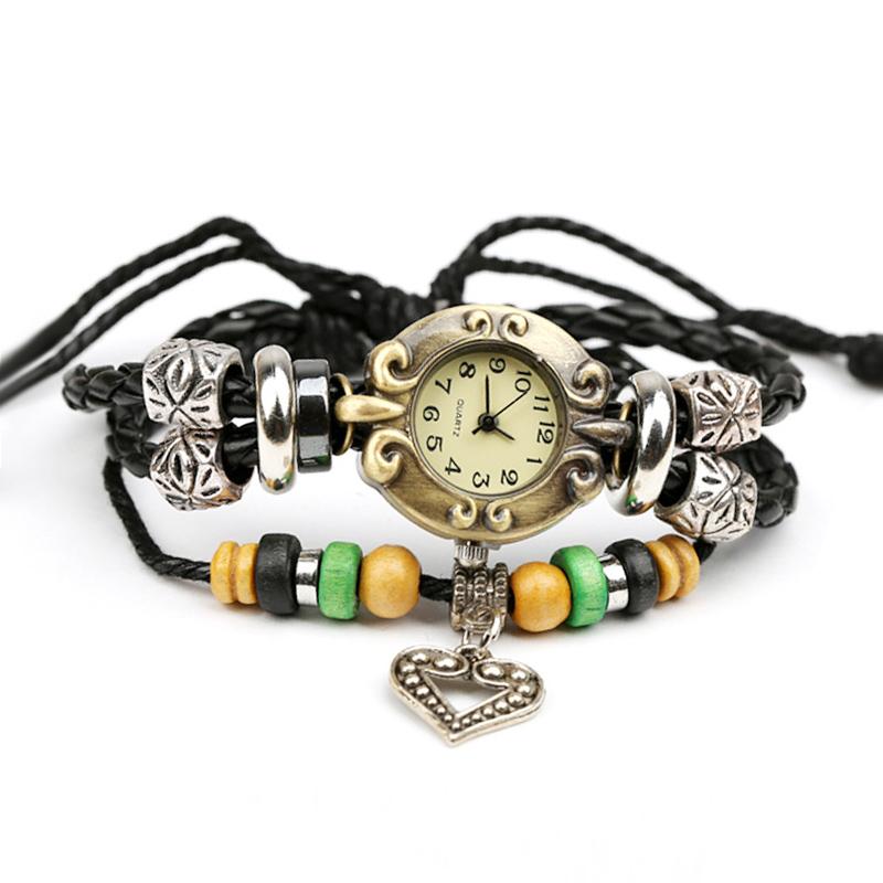 Retro Heart Pendant Wooden Beads Leather Multilayer Bracelet WATCH