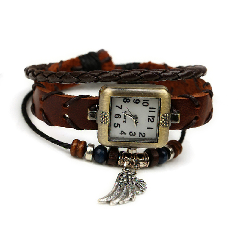 Retro Angel's Wing Pendant Wooden Beads Leather Multilayer Bracelet WATCH