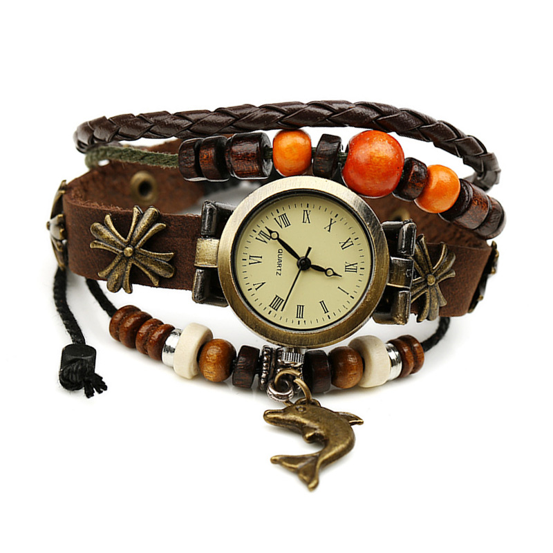 Retro Fish Pendant Wooden Beads Leather Multilayer Bracelet WATCH