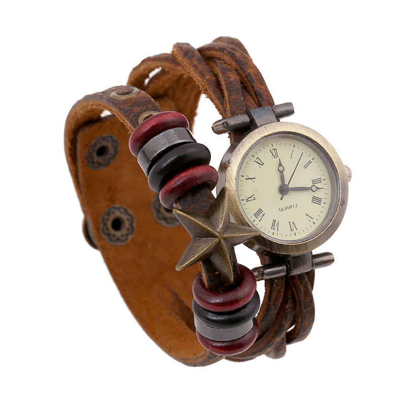 New Starfish Pendant Wooden Beads Leather Bracelet WATCH
