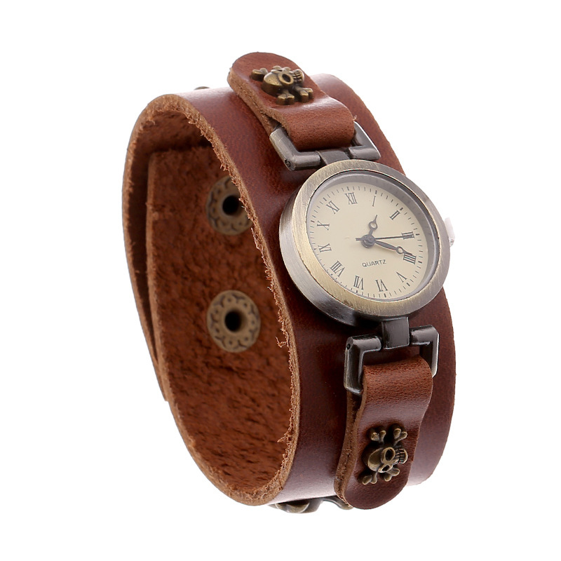 New Skull Pendant Wooden Beads Leather Bracelet WATCH