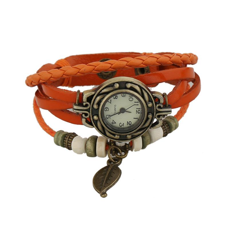 Retro Leaf Pendant Wooden Beads Multilayer Leather Bracelet WATCH