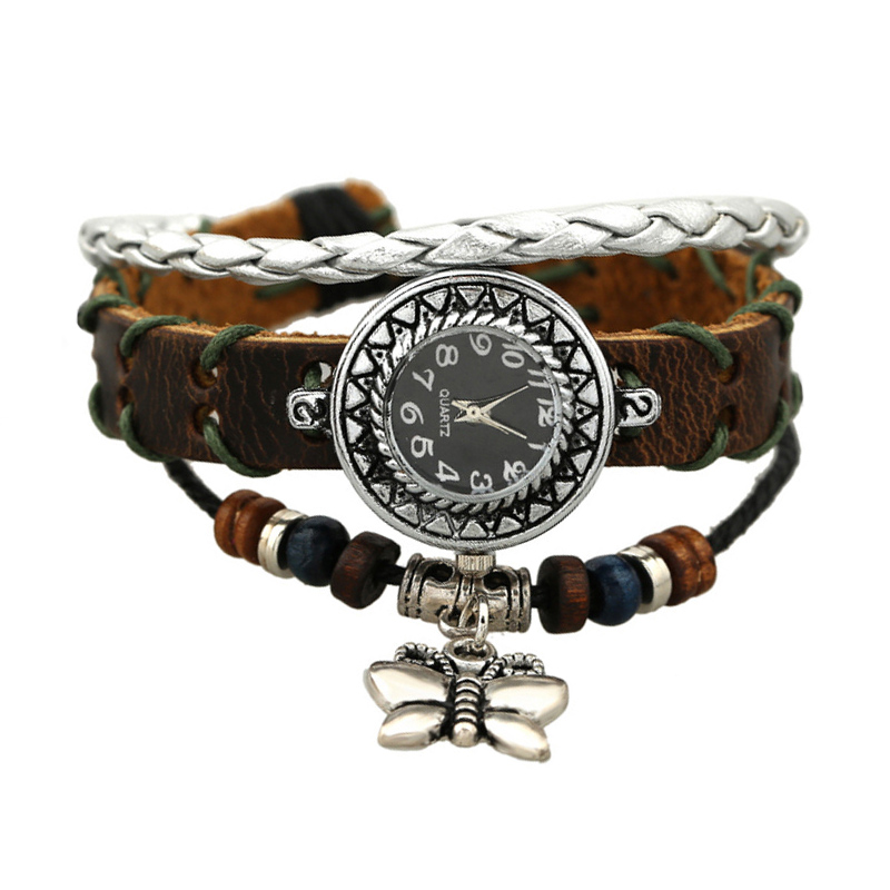 Retro Butterfly Pendant Wooden Beads Multilayer Leather Bracelet WATCH