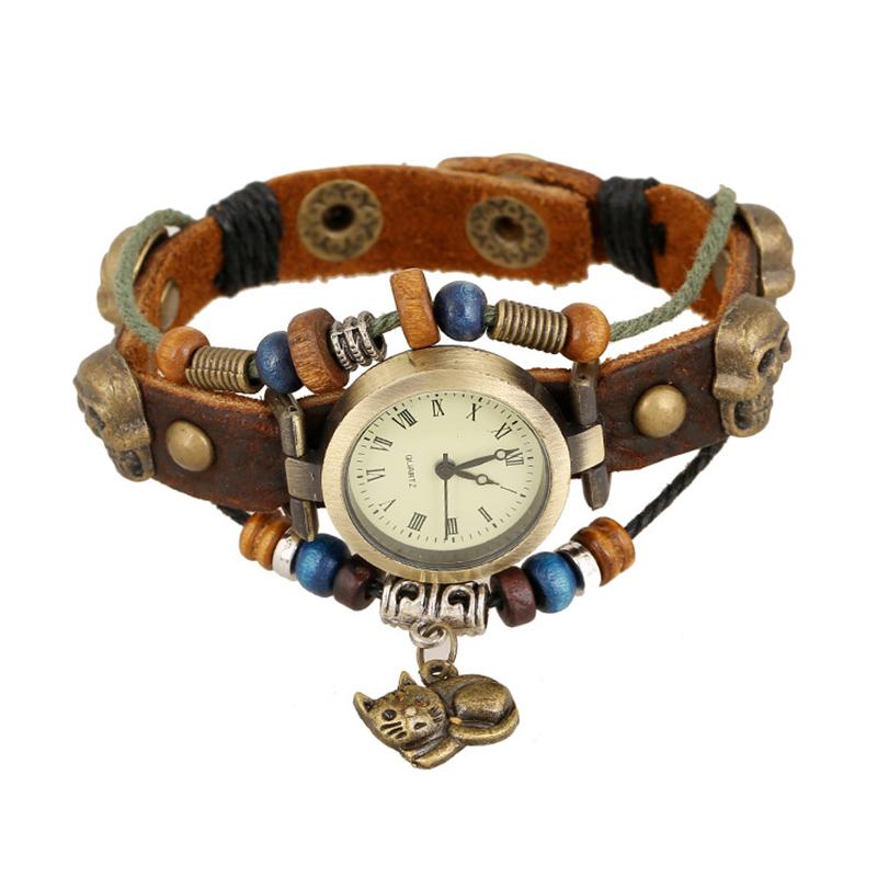Retro Cat Pendant Wooden Beads Multilayer Leather Bracelet WATCH