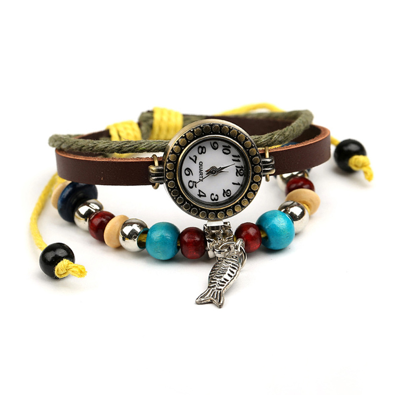 Retro Fish Pendant Wooden Beads Multilayer Leather Bracelet WATCH