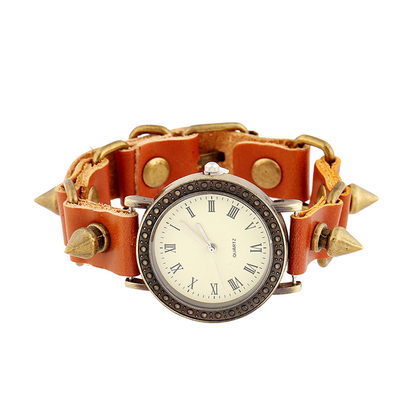 Retro Rivert Pendant Leather Bracelet WATCH