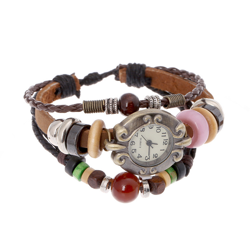 Retro Wooden Beads Leather Multilayer Bracelet WATCH
