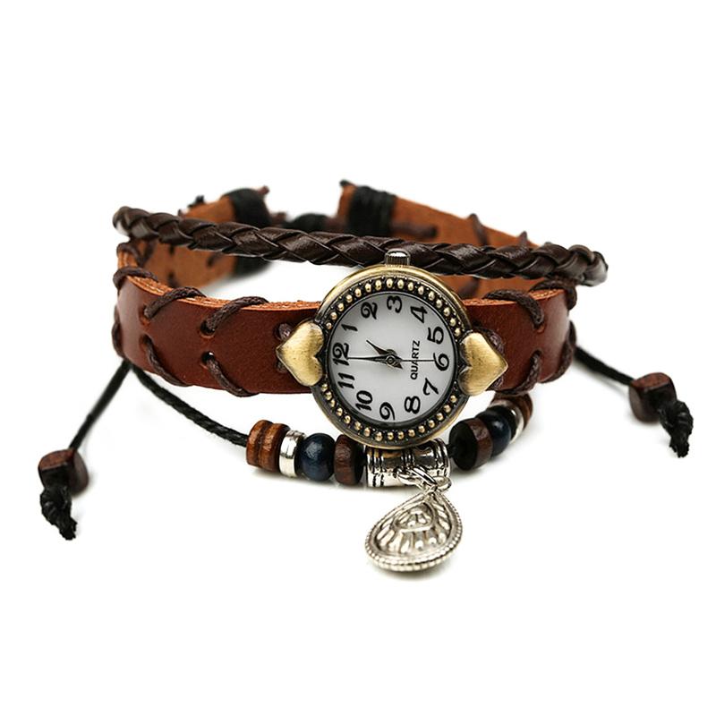 Retro Water Drop Pendant Wooden Beads Leather Bracelet WATCH
