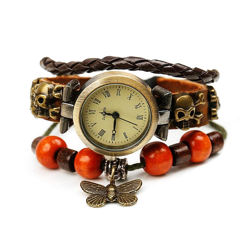 Retro Butterfly Pendant Wooden Beads Leather Bracelet WATCH