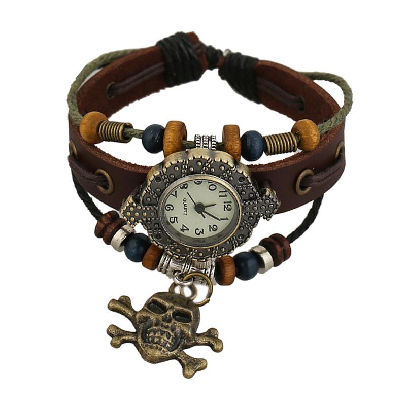 Retro Skull Pendant Wooden Beads Leather Bracelet WATCH