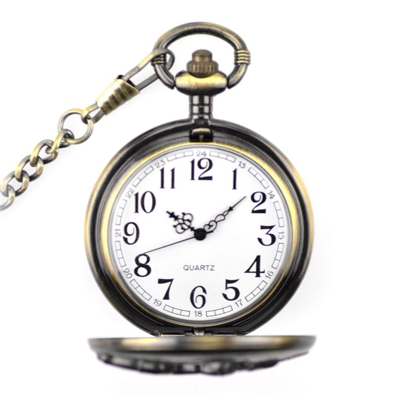 Creative Old Train Carving Vintage Steampunk Style Alloy Pocket WATCH