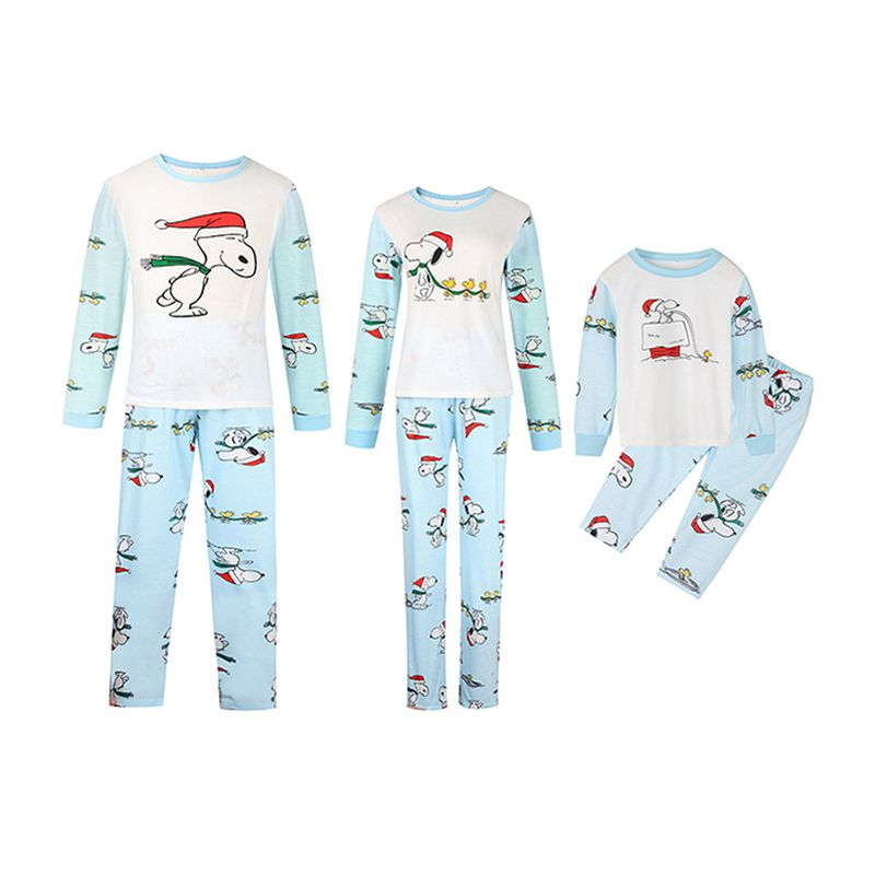 Wholesale Cotton Matching Family Outfits Christmas Snoopy Printed Long  Sleeves PAJAMAS Set 27bfcd13a