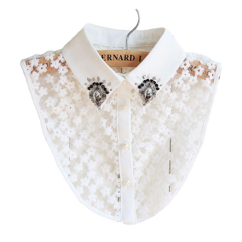 Elegant CHARM Women Luxury Crystal Beaded Handmade Embroideried Detachable Collar