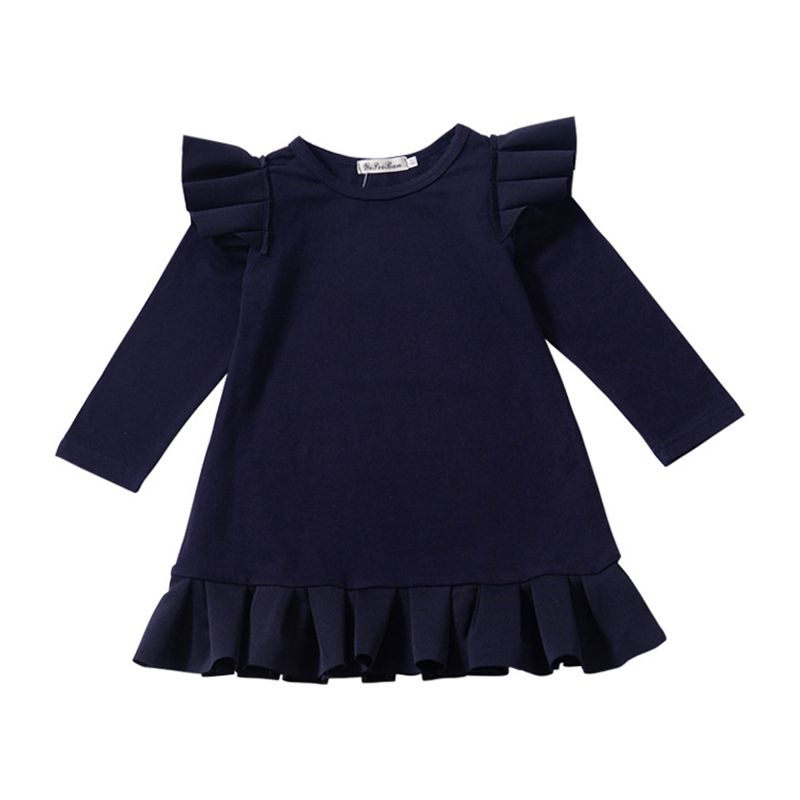 New Arrived Lovely Girls Cotton Blue Ruffle Long Sleeves Pleated DRESS