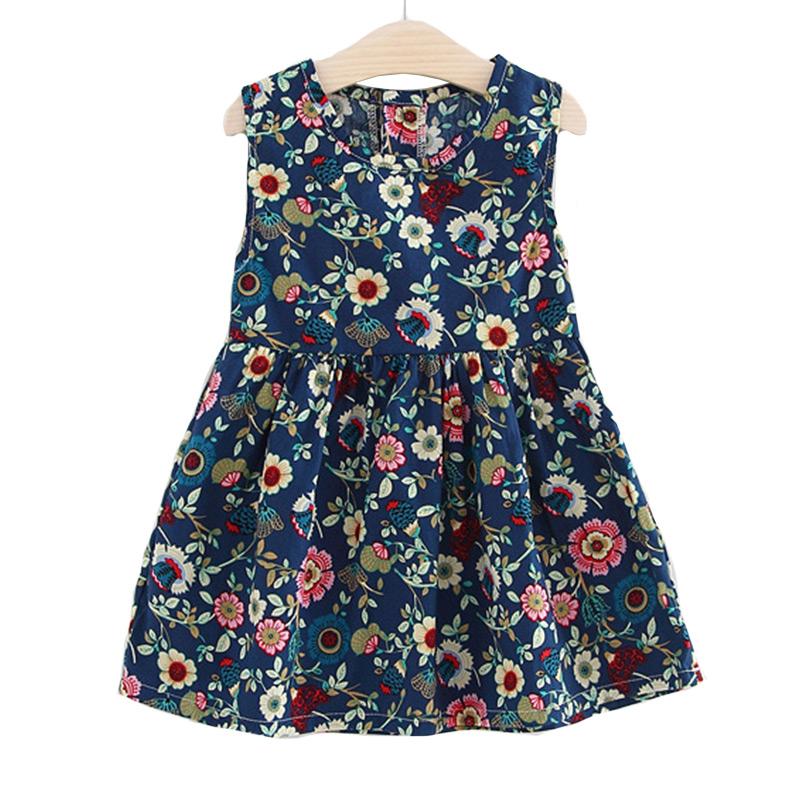 Children Fashion Style O-Neck Sleeveless Cute Flowers Printed Princess DRESS