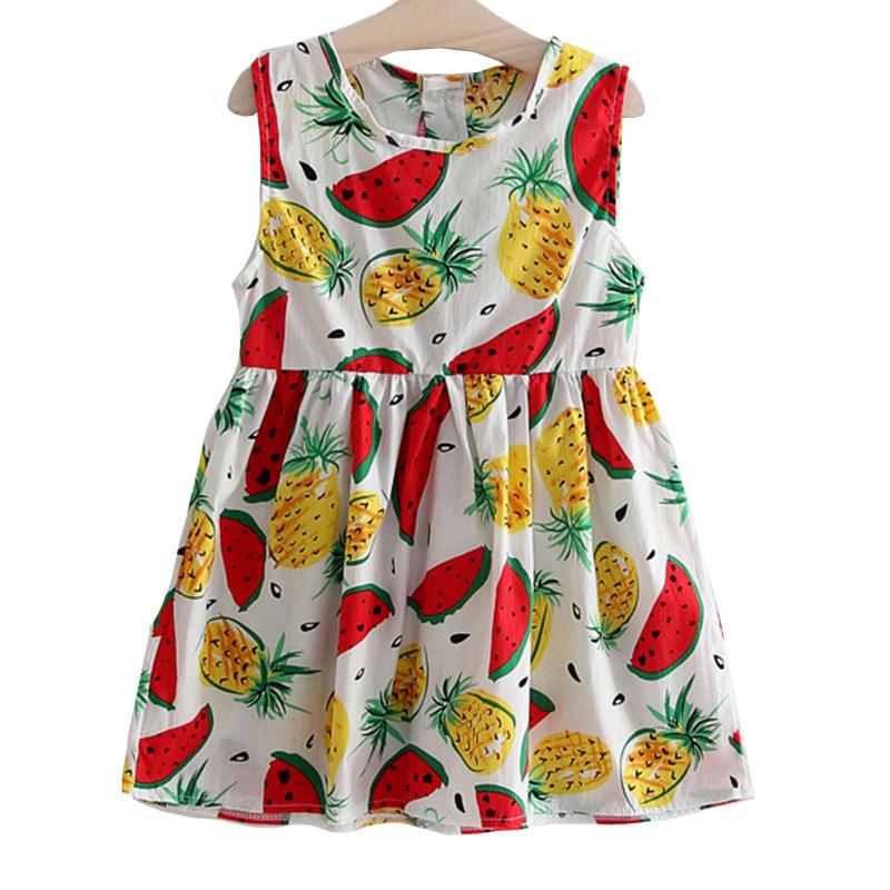 Kids New Fashion O-Neck Sleeveless Cute Watermelon Pineapple Printed Princess DRESS