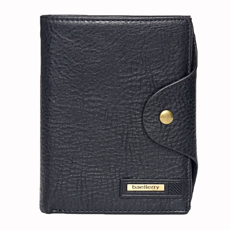 Hot-selling Style Men's Big capacity Solid Color PU LEATHER Card Holder Short Wallet