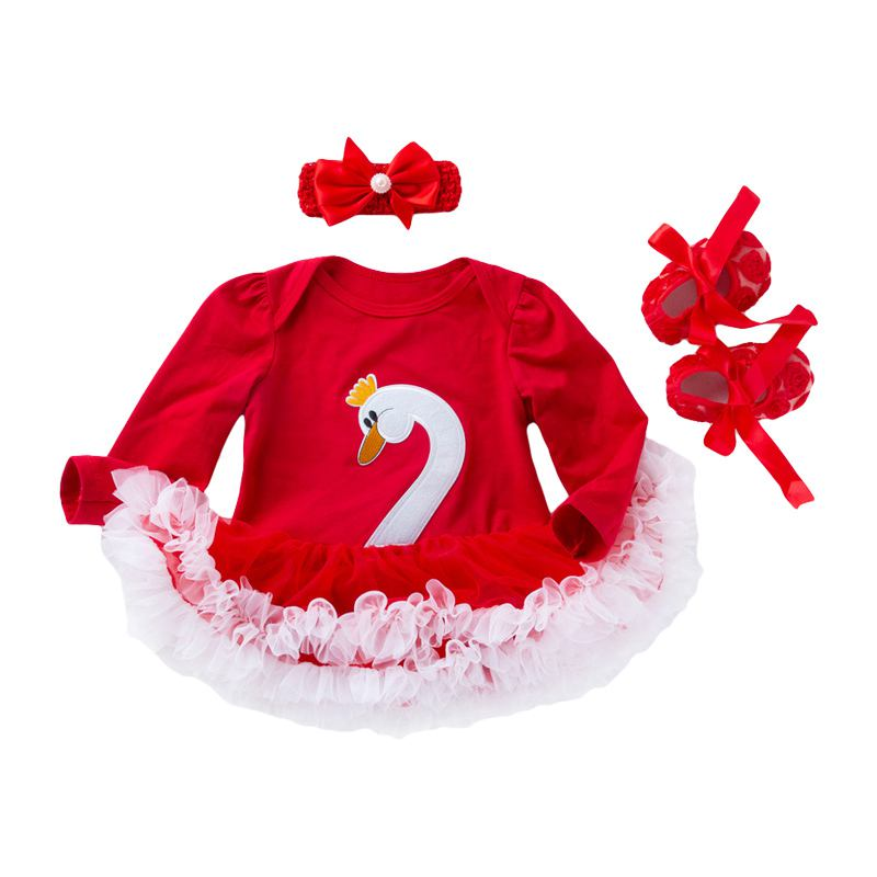 3 Pcs Set Baby Girls Cotton Pretty Swan Pattern Long Sleeves Patchwork Bodysuit And Cute Floral SHOE