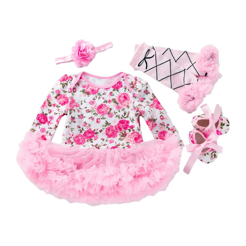 4 Pcs Set Baby Girls Cotton Floral Printed Long Sleeves Patchwork Bodysuit And Leggings And SHOES An