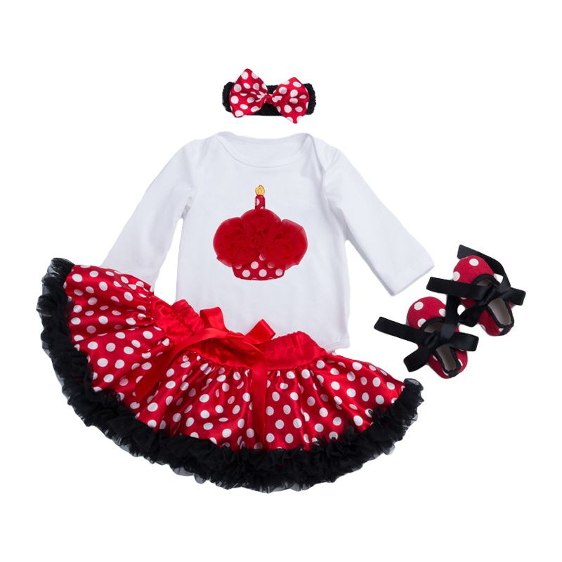 Wholesale Baby Girls Cotton Cake Ice Cream Printed Bodysuit And Dots Skirt And SHOES And Headband 4