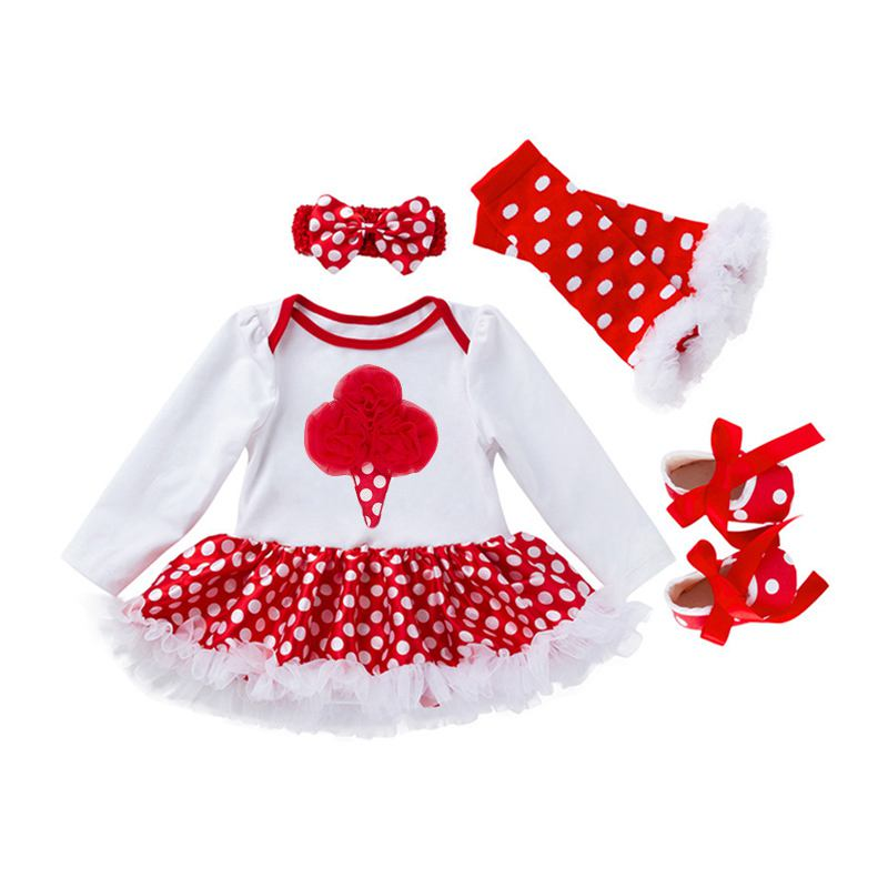 4 Pcs Set Cotton Baby Girls Lace Printed Bodysuit And SHOES And Dots Leggings And Headband