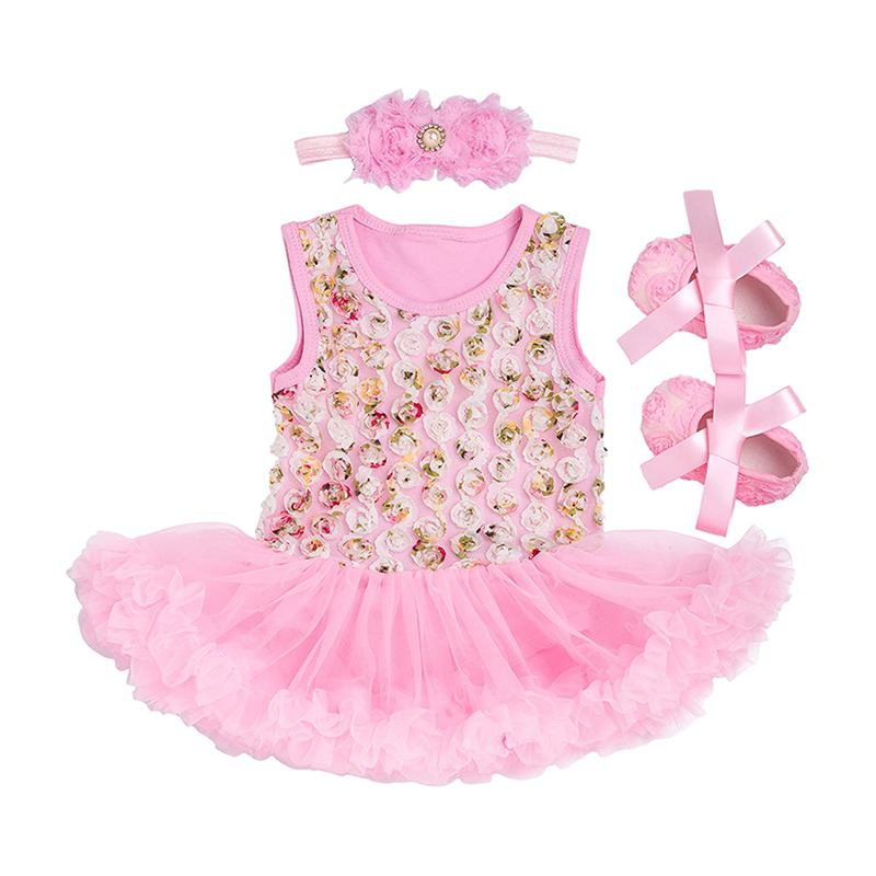 3 Pcs Set Baby Girls Cotton Sleeveless Floral Printed Patchwork Bodysuit And SHOES And Headband