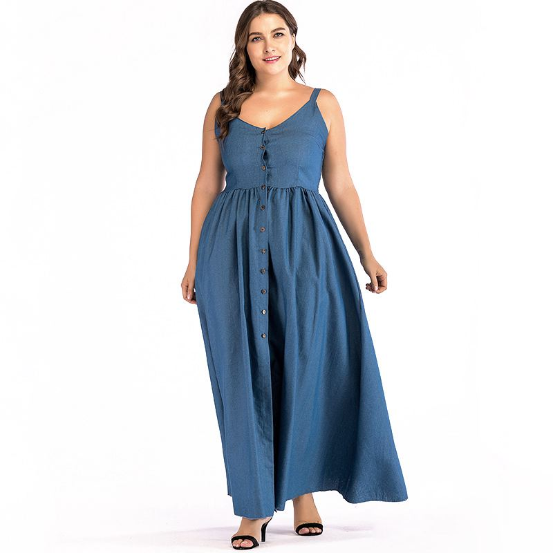 Plump Lady Plus Size CLOTHING Solid Color Long Length Side Slit Slip Dress
