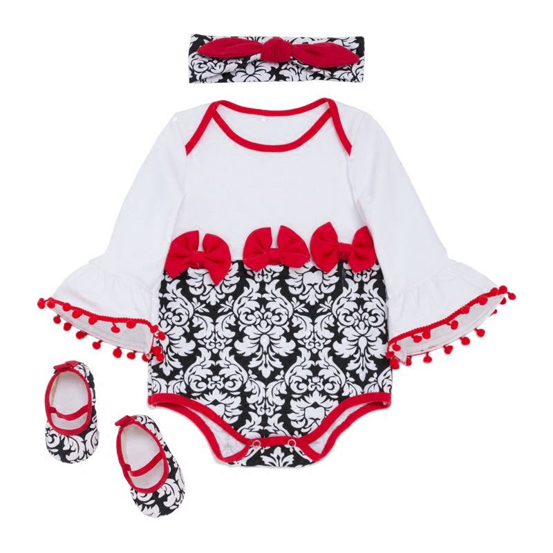 3 Pcs Set Cute Toddler Girls Cotton Long Sleeves Floral Printed Bodysuit And SHOES And Headband