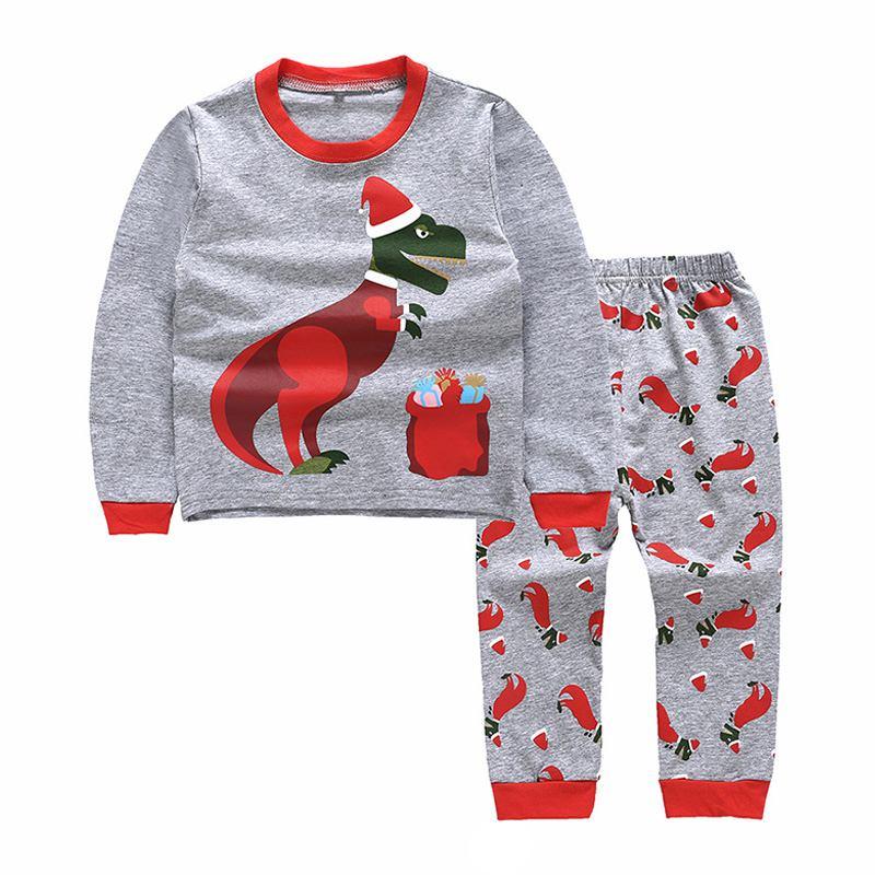 Boys Christmas Dinosaur Printed PAJAMAS Set