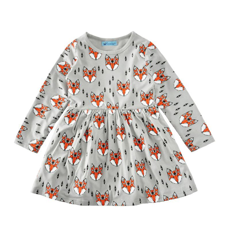 Casual Girls Fox Printed Long Sleeves Round Neck DRESS