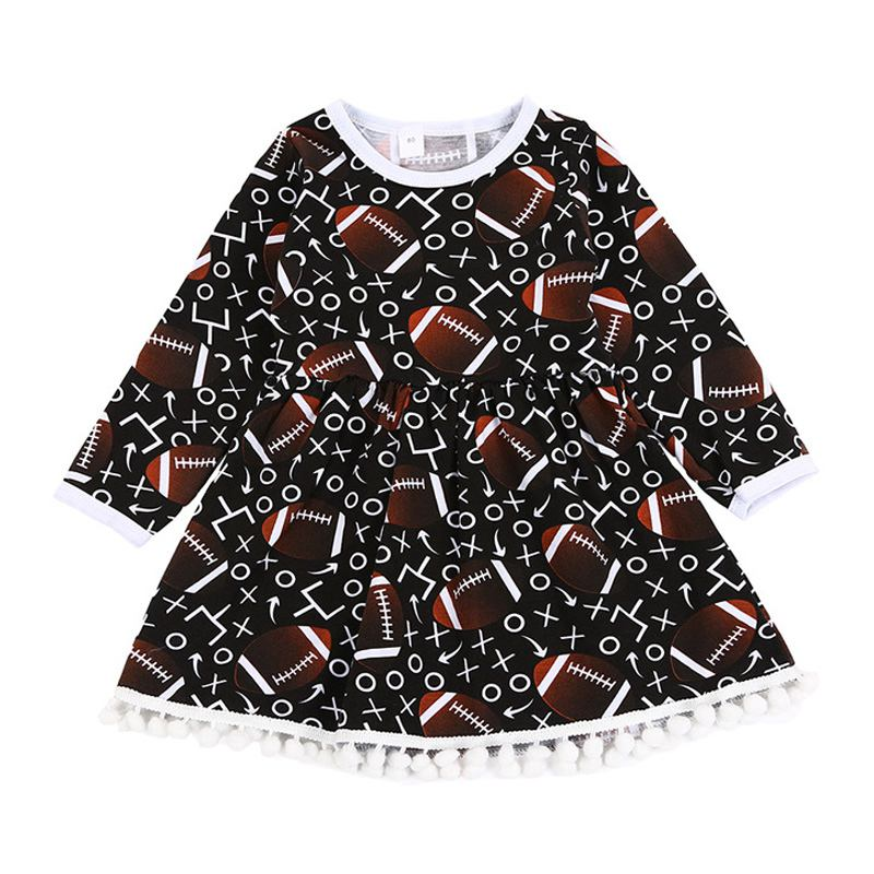 Girls Rugby Printed Long Sleeves Tassel DRESS