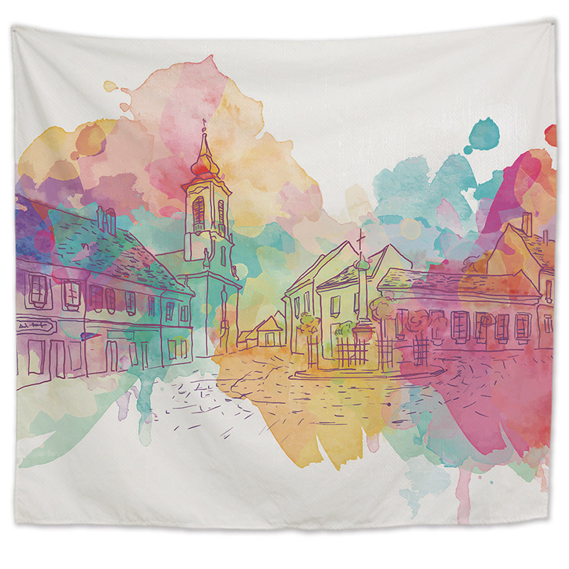 Supplies Wall Hanging Polyester Thin Street Roller Coaster TOWEL Printed Shawl Yoga Mat Decorative T
