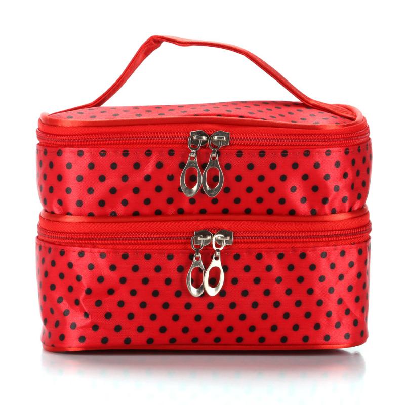 Classic Polka Dot Print Women Double Layer COSMETIC Bag