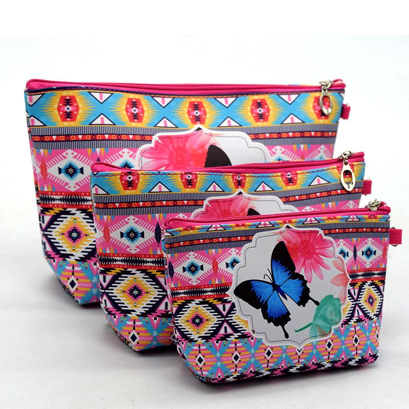 3pcs/set Women Flower Animal Print Travelling COSMETIC Bags