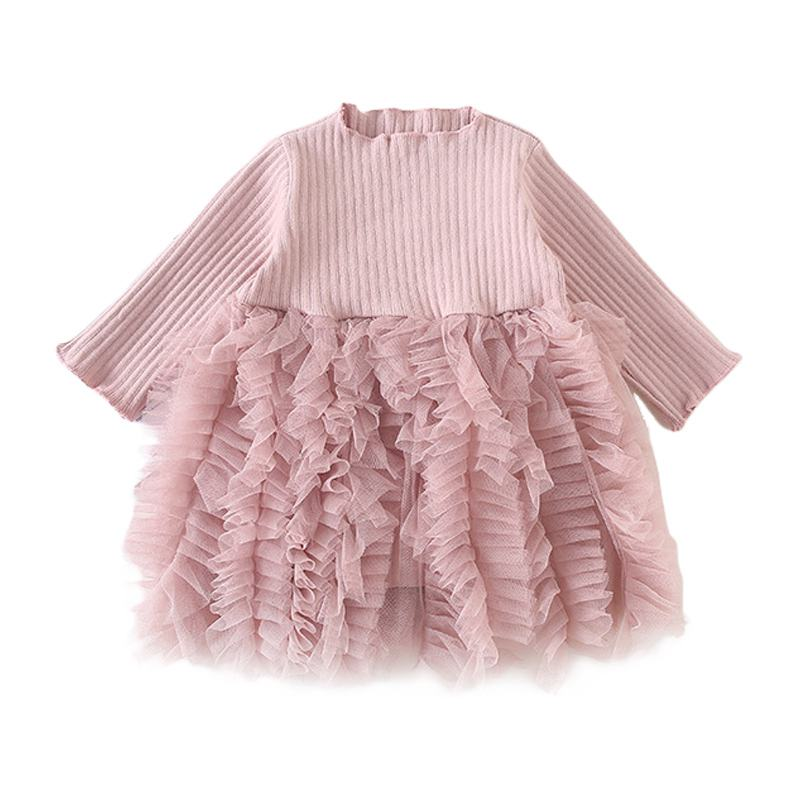 Cute Girls Cotton Knitted Long Sleeves Patchwork Lace DRESS