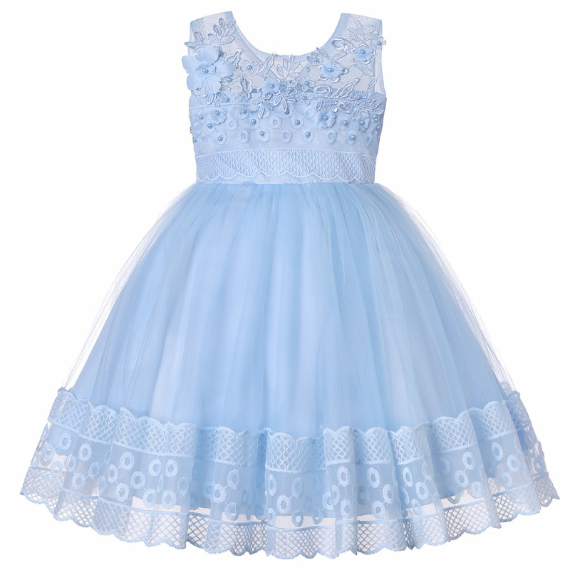 Party WEDDING Flower Girls Sleeveless Floral Embroidered Lace Tutu Dress