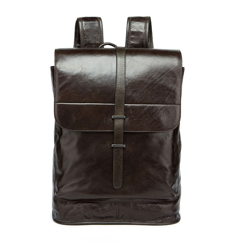 Men Top Grade Genuine Leather Solid Color Large Capacity Backpack