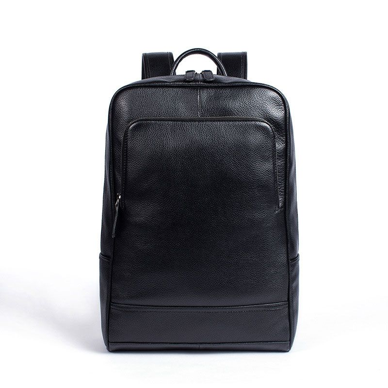 Wholesale Men High Quality Solid Color Unisex Genuine Leather Backpack
