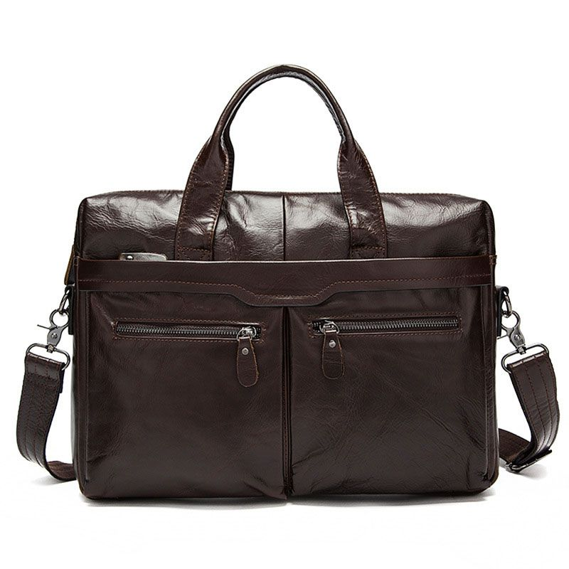 Businessmen High Quality Solid Color Genuine Leather Square Shape Briefcase
