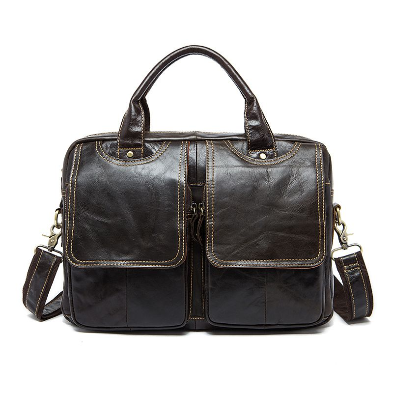 Men Solid Color High Quality Vintage Genuine Leather Briefcase
