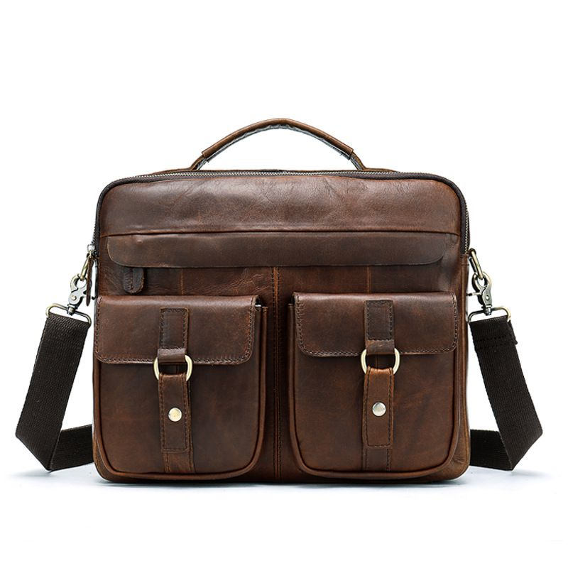 Men Good Quality Solid Color Vintage Style Genuine Leather Briefcase