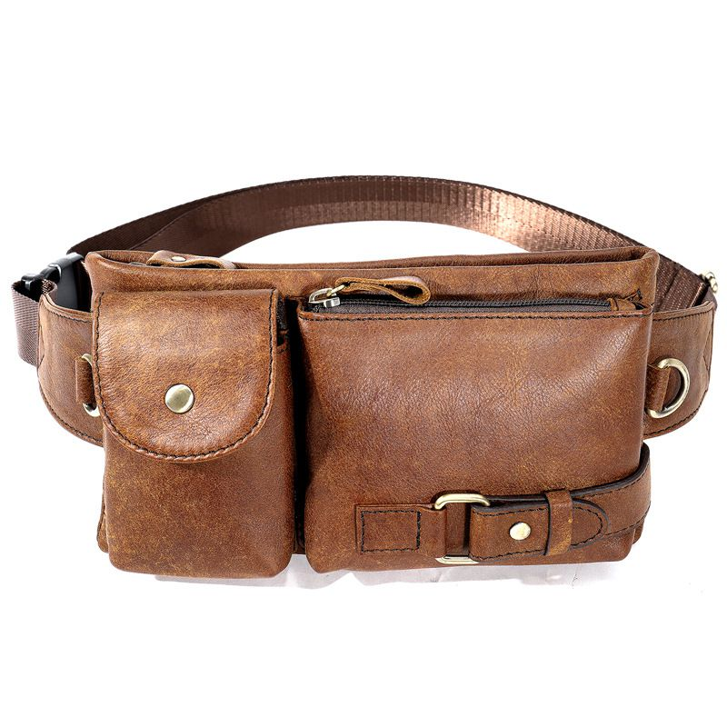 Fashion Casual Style Men Solid Color Genuine Leather Waistpack