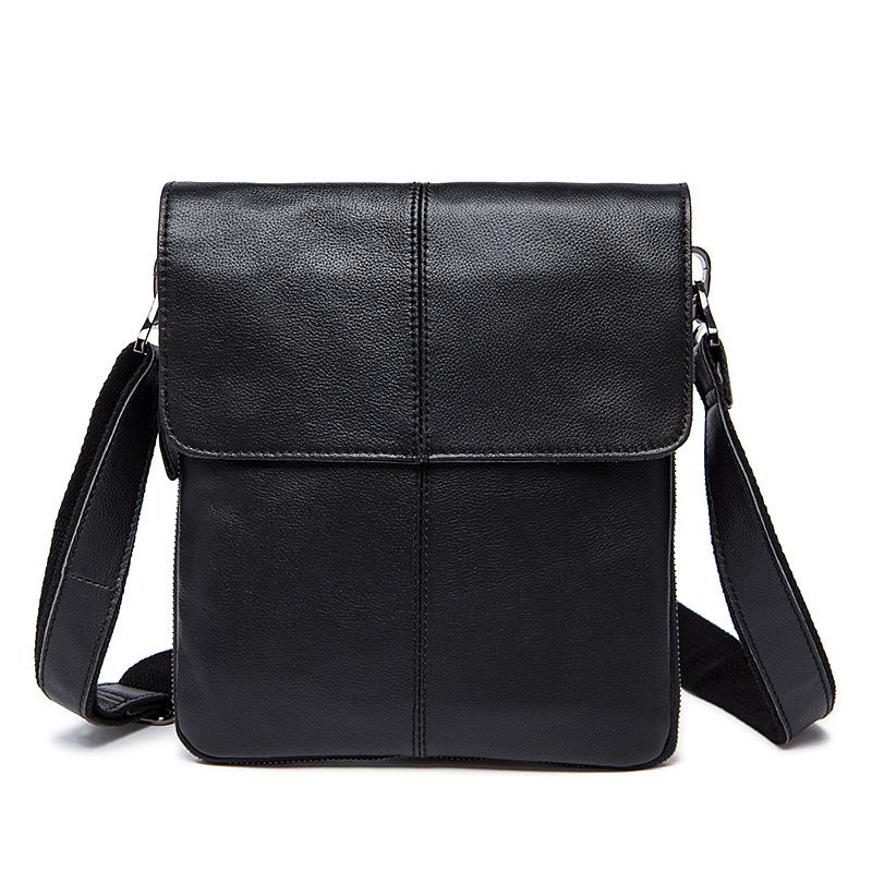 Fashion Classic Men Top Grade Solid Color Genuine Leather Crossbody Flap Bag