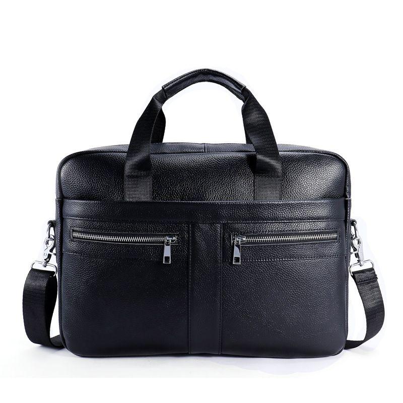 Fashion Solid Color Men Top Grade Genuine Leather Square Briefcase