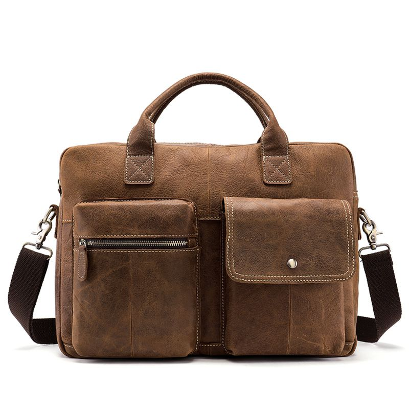 Good Quality Cow Leather Men Fashion Single Strap Genuine Leather Briefcase
