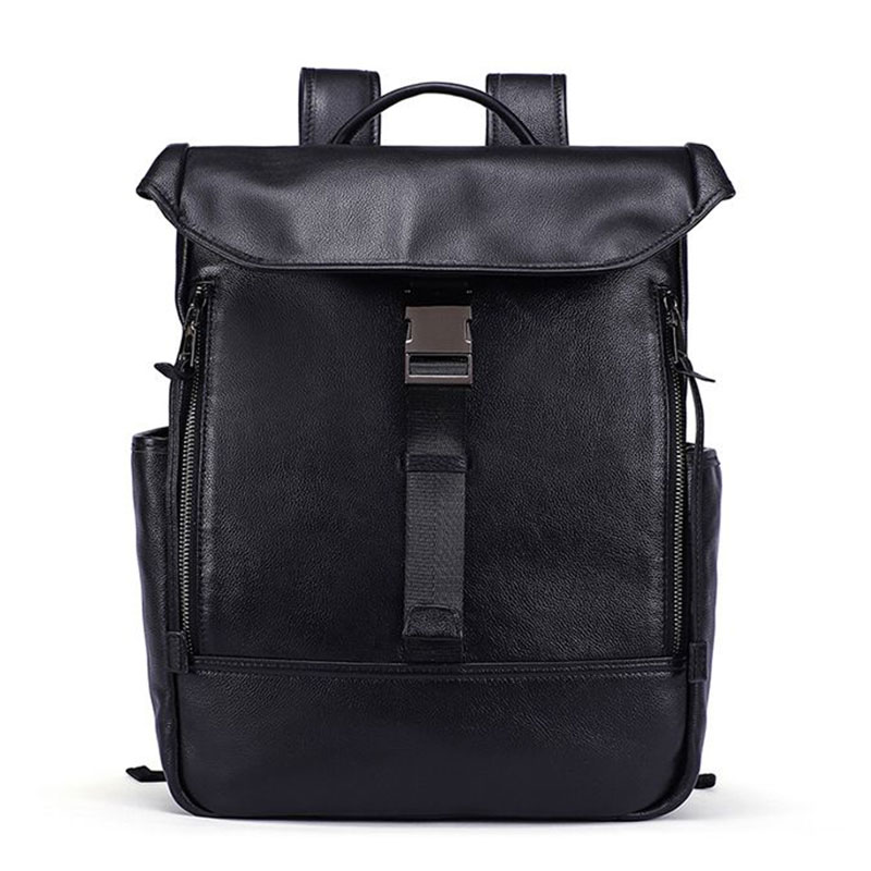 Men Fashion Outdoor Wear Solid Color Good Quality Genuine Leather Large Capacity Backpack