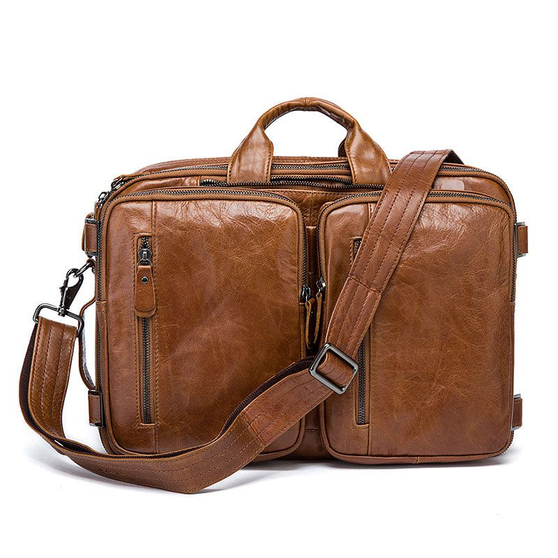 Fashion Creative Design Solid Color Top Grade Genuine Leather Men Briefcase