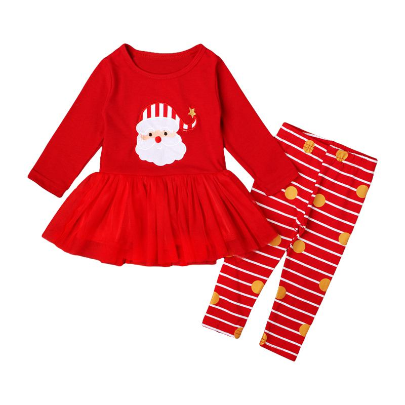 Christams CLOTHING Girls Red Santa Claus Printed Patchwork Tops And Stripes Pant